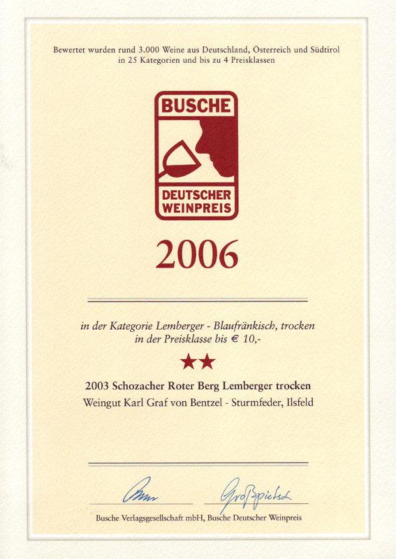 2003 Schozacher Roter Berg Lemberger