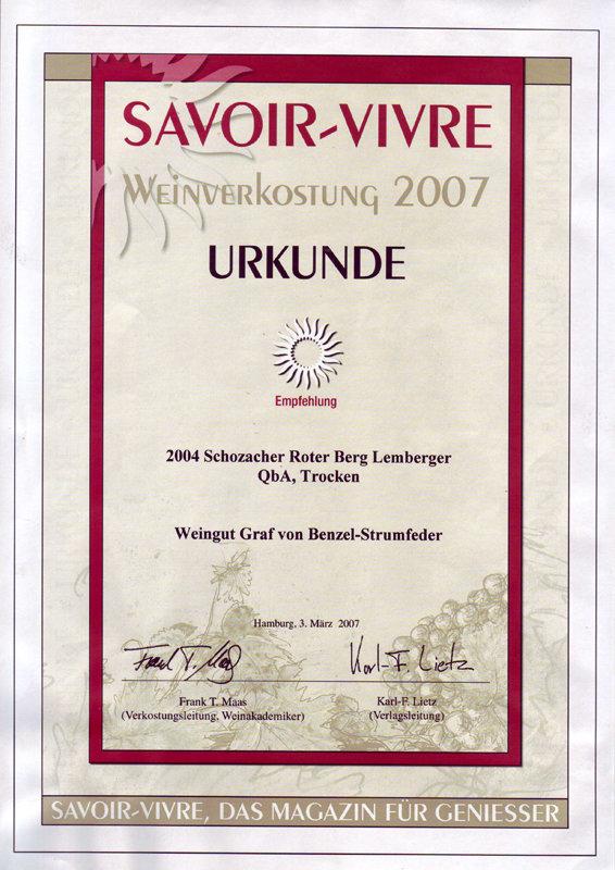 2004 Schozacher Roter Berg Lemberger